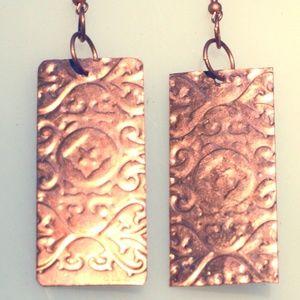 Rectangle Tribal Embossed Big Earrings Copper Boho